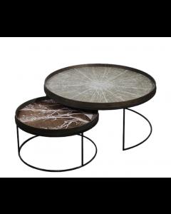Ensemble de 2 Tables  Basses Rondes XL avec plateaux - Notre Monde