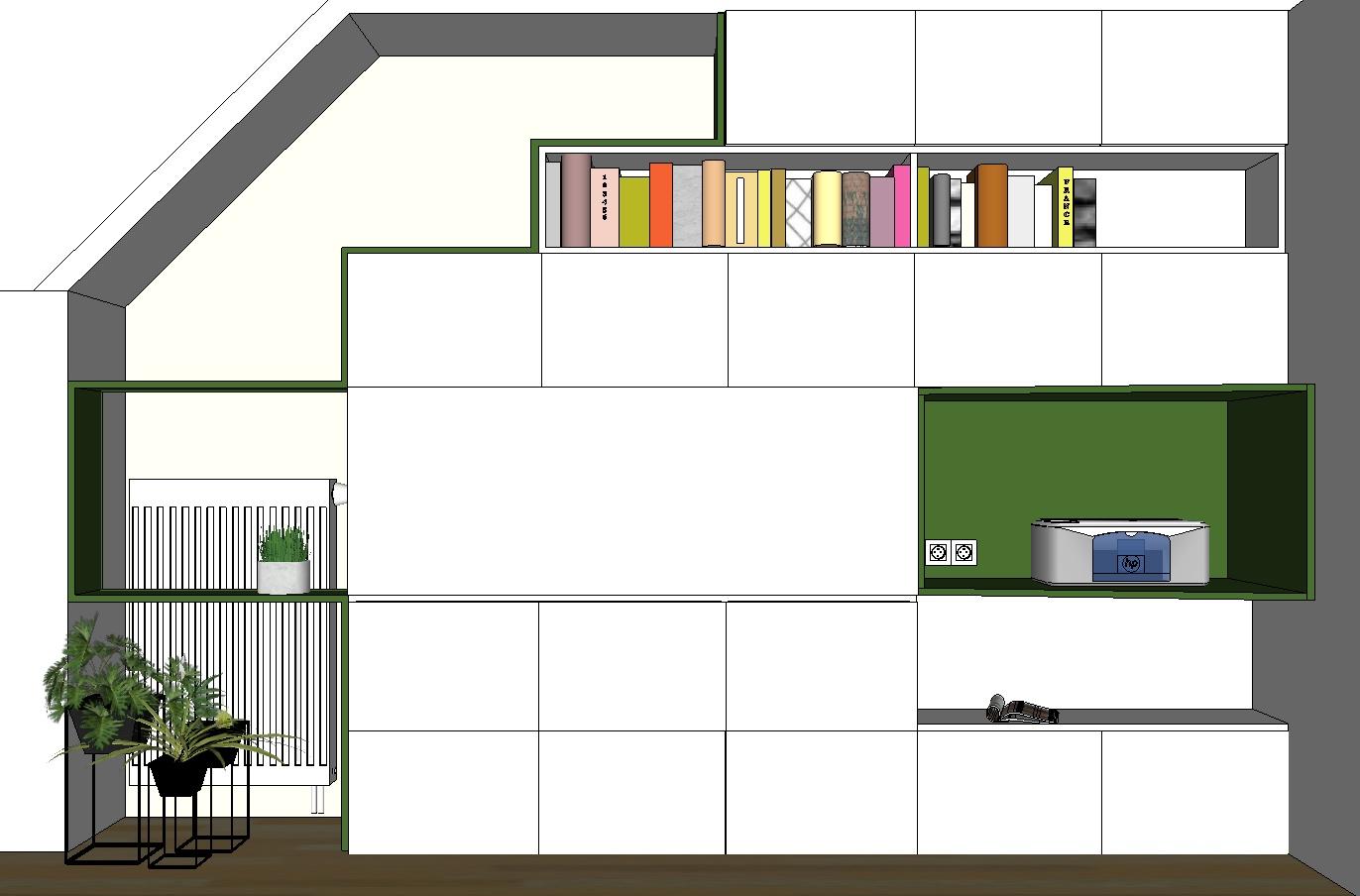 Création mobilier - Bibliothèque bureau intégré - croquis 3D 1
