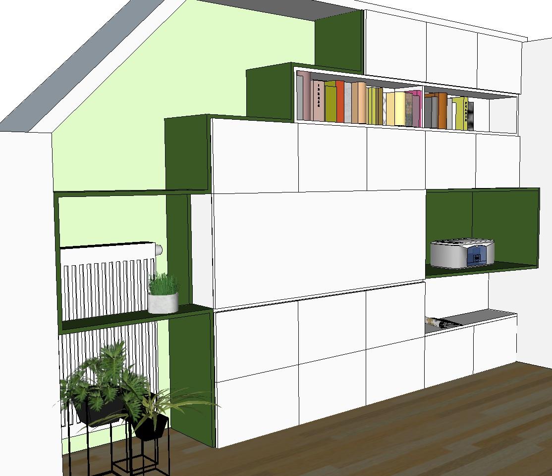 Création mobilier - Bibliothèque bureau intégré - croquis 3D 2