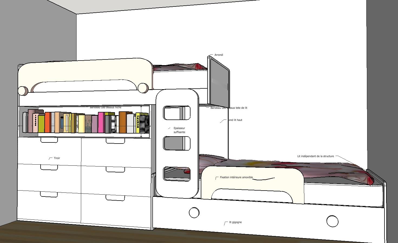 Création mobilier - Lits superposés enfants - Croquis 3D 1
