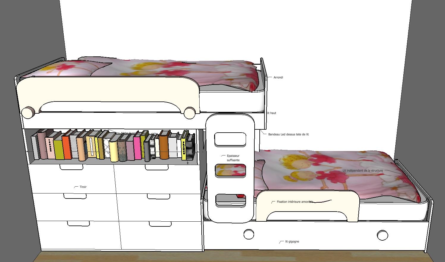 Création mobilier - Lits superposés enfants - Croquis 3D 2