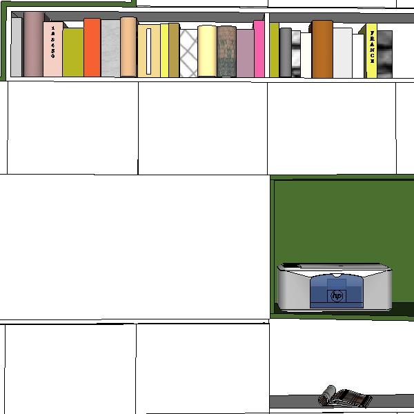 Création mobilier - Bibliothèque bureau intégré - croquis 3D